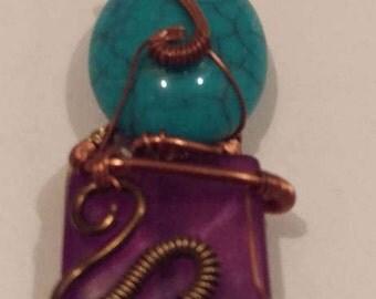 Purple and aqua beaded wire wrap, bronze & copper
