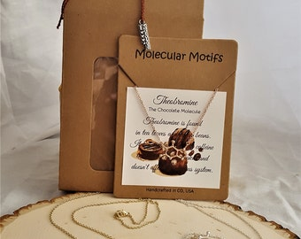 3D Chocolate Theobromine Molecule Science Gift Chemistry Jewelry Nerdy Gift Food Themed Necklace