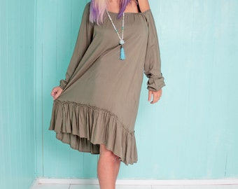 Boho chic Olive green oversize dress - plus size knee length dress with long sleeves - Short loose dress