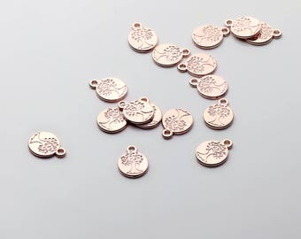4 Pcs Rose Gold Family Tree Jewelry Charm Necklace Supply Coin Disc 4FD-R