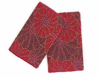 Bordeaux / Red color with colorful beads Wrist Warmers / Arm Warmers / Hand warmers / Accessories