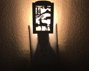 Deer Night Light - Plug In Night Light - Deer Nursery Decor - Deer Hunting - Woodland Nursery Decor - Wood Night Light - Night Light Deer