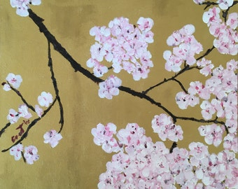 Original Oil Painting of Cherry Blossom on Canvas Board
