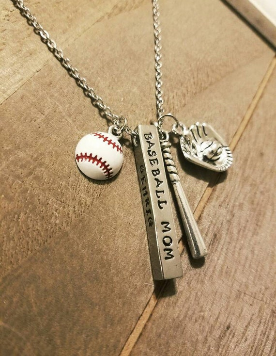 personalized baseball mom bar necklace by ilove2stamp on etsy