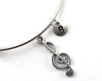 TREBLE CLEF  bangle, silver treble clef bracelet, musician charm, initial bracelet, adjustable bangle, personalized jewelry, birthstone