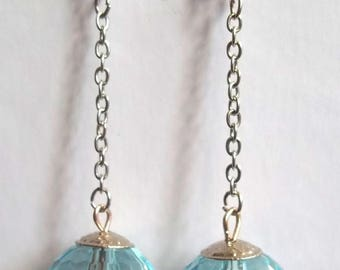 Silver light blue earrings