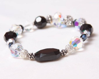 The Cathy Handmade Gemstone & Swarovski Crystal Stretch Bracelet