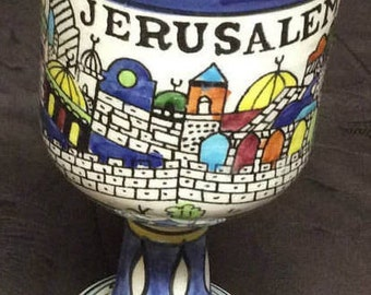 Vintage Hand Painted Armenian Ceramic Jerusalem Communion Footed Cup White Multicolor Blue Rim