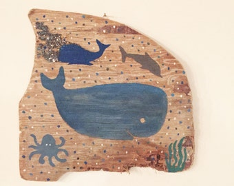 aquatic painting on reclaimed wood