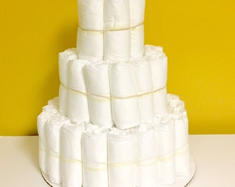 Undecorated Three Tier Diaper Cake. Baby Shower Gift. Centerpiece. Decorations. DIY Diaper Cake. How to Make a Diaper Cake. Plain Cake.