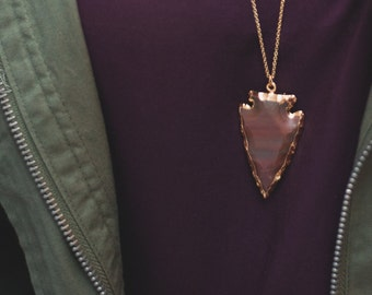 Jasper Arrowhead Necklace - Bohemian Layering Jewelry
