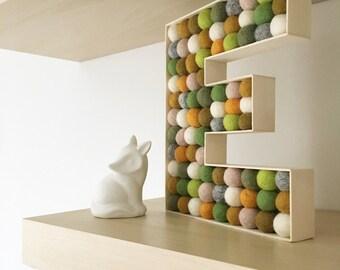 Personalised • monogram • letter • kids room • Wooden felt ball letter (woodland colours)