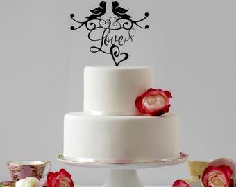 Love Birds Wedding Cake Topper, Romantic Cake Topper, Wedding Cake Ideas for a Boho Wedding, Wedding Cake topper also  Gold Cake Topper