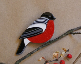Made to order bullfinch winter bird design brooch from polymer clay in the red, white, grey and black colors