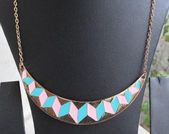 Pink Blue Bib Indian Necklace,Bib Statement Necklace,Chain Necklace,Boho Tribal Necklace,BridesmaidNecklace,Christmas Necklace