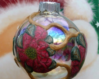Christmas Poinsettia Ornament with Gold Vines;Glass Poinsettia Ornament;Poinsettia Ornament;;Secret Santa;Office Gift