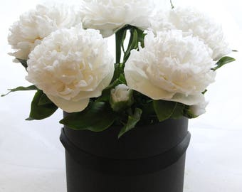 Real Touch Peony,Peonies bouquet,Home Décor,White peonies,Handmade flowers,Alternative bouquet,Table decoration,home accents,Cold porcelain