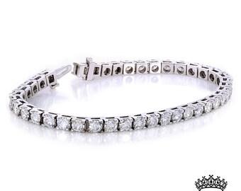 10k White Gold 10ct Moissanite Tennis Bracelet