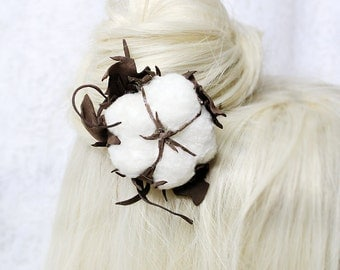 cotton flower hair jewelry/for/hair accessory white hair stick white gifts/for/her white flower jewelry gift girlfriend woodland hair D3