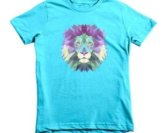 Geometric Lion Girls Fitted Princess T-Shirt