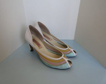 Bandolino Peep Toe Shoes - Pastel and Mesh Details