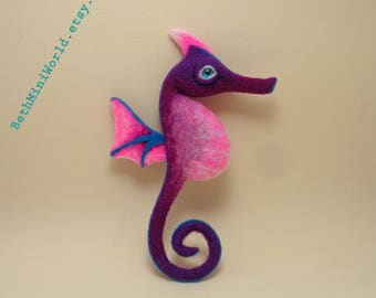 Fantasy Creature- Seahorse- Dragon- Needle felted figure- Art Doll- Magical Pet- Ooak- Ready to Ship