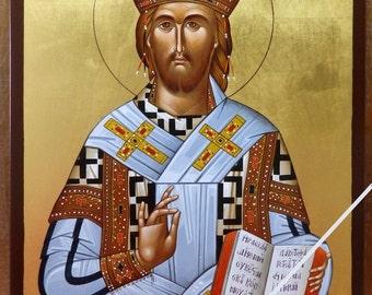 Jesus Christ the High Priest, Christian orthodox icon, original hagiography, hand painted on request, Χριστός Ο Μέγας Αρχιερεύς, αγιογραφία