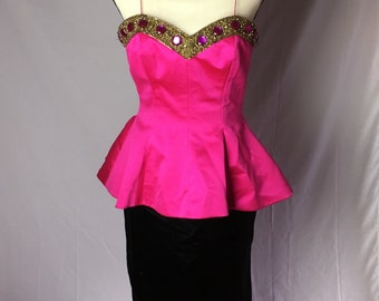 1980's Bill Blass Evening Gown/Peplum Dress