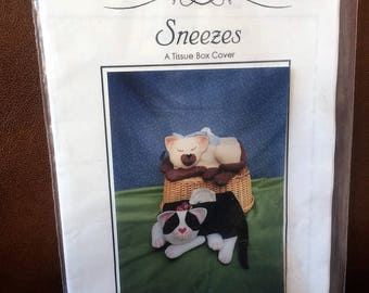 Sleeping Kitty Cat Tissue Box Cover Pattern