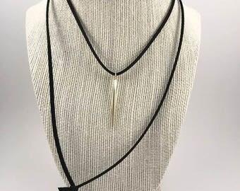 Gold Needlepoint Spike Charm Dainty Suede Wrap Choker