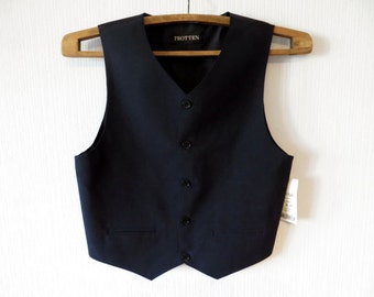 NOS Black Vest Boys Formal Edwardian Victorian Baroque Childrens Waistcoat 158 Traditional Classic 212