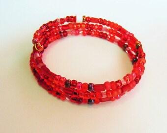 Red Wrap Bracelet, Christmas, Holiday, Fun
