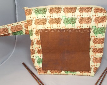 Sheep bag , Square bottom Large Zipper Bag for Knitting/ Crochet/ Fiber Arts; Project Tote