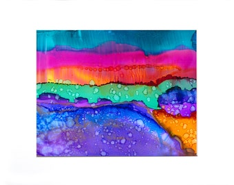 Rainbow Dreamscape #2 Wall Decor Original Alcohol Ink Painting Limited Edition Giclee Matted Print