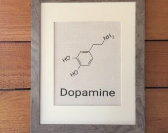Burlap Print of Dopamine Molecule