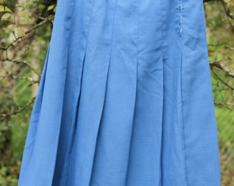 SALE Pleated Blue Caro Skirt