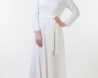 CLEARANCE one size sale - Long off white dress with sleeves Long dress with sleeves Modest wedding dress cream Off white jersey dress