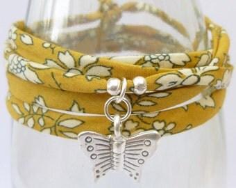 Butterfly wrap bracelet, summer bracelet, fabric wrap bracelet, festival bracelet, silver charm