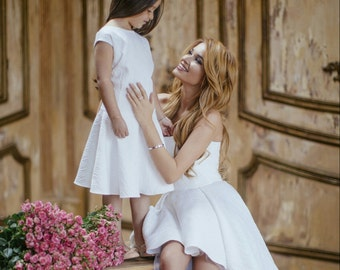 White Mother Daughter matching dress Mommy and Me strapless A-Line dress Mom Baby Dress Bridal Dress for Wedding Bridesmaid dress