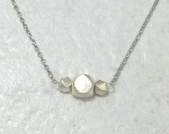 Facetted Cubes Necklace - silver, delicate, chain, circle, sterling silver, 18K, simple, minimal, handmade