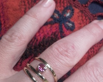 gold ring with pink tourmaline