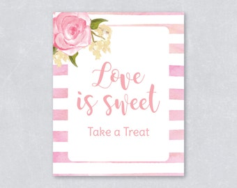 Love is sweet take a treat / Bridal shower sign / Wedding sign / Blush floral / Watercolor / DIY Printable / INSTANT DOWNLOAD