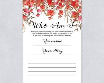 Who am I bridal shower game, red floral, forest watercolor, Hen party game, Printable game, INSTANT DOWNLOAD