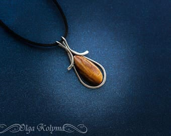 Wire wrapped pendant Tiger eye necklace silver pendant Wire wrapped jewelry gift  for her OOAK