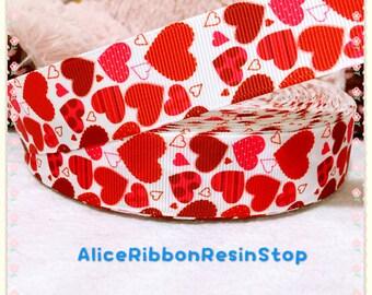 """3 yards 1"""" Valentine ribbon, heart ribbon, Valentine hair bow ribbon, red heart ribbon, grosgrain ribbon, hair bow ribbon, red ribbon"""