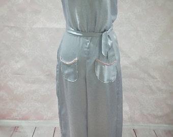 The Jean- 1930s, art deco, silk, jumpsuit, pinup, rockabilly, sleepwear, pjs, blue, pink, retro, vintage