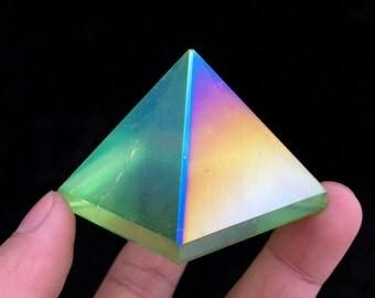 Viridesce Aura Quartz Crystal Pyramid Titanium Bismuth Silicon Coated Rainbows