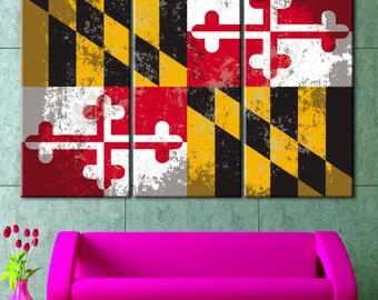 Maryland flag, Maryland print, Maryland art, Maryland flag print, Maryland flag art, Maryland Vintage, Maryland Canvas, Maryland State flag