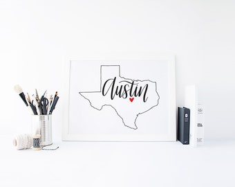Texas Print - State Print - Hand Lettered Print - Texas - Custom State Print - Personalized State Print - Custom State Sign - Texas Sign