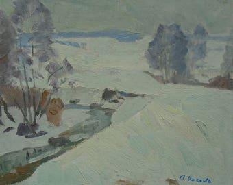 VINTAGE WINTER LANDSCAPE Original Oil Painting by a Soviet Ukrainian artist Kakalo A. 1980s, Signed, Winter scenes, Fine Art